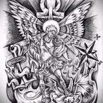 Классный пример эскиза наколки Архангел Михаил – рисунок подойдет для тату архангел михаил онлайн