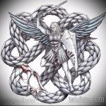Прикольный пример эскиза татуировки Архангел Михаил – рисунок подойдет для тату архангел михаил на зоне