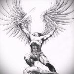 Крутой вариант эскиза татуировки Архангел Михаил – рисунок подойдет для тату архангел михаил надпись