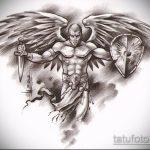 Интересный пример эскиза наколки Архангел Михаил – рисунок подойдет для тату архангел михаил на плечетату архангел михаил на руке
