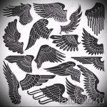 Необычный эскиз тату крылья – рисунок наколки крыло подойдет для тату волк с крыльями