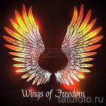 Классный эскиз татуировки крылья – рисунок тату крыло подойдет для