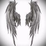 Крутой эскиз татуировки крылья – рисунок тату крыло подойдет для тату крылья ангела мужские