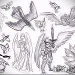 Классный эскиз татуировки крылья – рисунок наколки крыло подойдет для тату женщина с крыльями