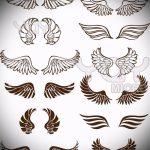 Классный эскиз татуировки крылья – рисунок тату крыло подойдет для ангельские крылья тату