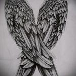 Классный эскиз татуировки крылья – рисунок наколки крыло подойдет для тату крылья на запястье для девушек