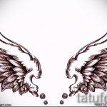 Крутой эскиз татуировки крылья – рисунок тату крыло подойдет для тату череп с крыльями