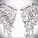 Интересный эскиз татуировки крылья – рисунок тату крыло подойдет для крылья совы тату
