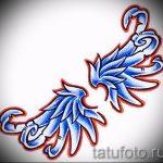 Классный эскиз татуировки крылья – рисунок наколки крыло подойдет для тату крест с крыльями
