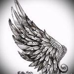 Классный эскиз тату крылья – рисунок наколки крыло подойдет для тату меч с крыльями
