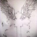Крутой эскиз татуировки крылья – рисунок тату крыло подойдет для тату на шее крылья фото