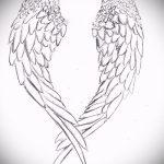 Классный эскиз тату крылья – рисунок наколки крыло подойдет для тату крылья на животе