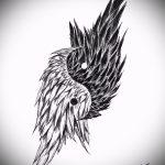 Интересный эскиз тату крылья – рисунок тату крыло подойдет для тату девушка ангел с крыльями