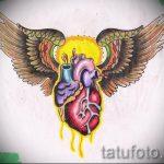 Интересный эскиз татуировки крылья – рисунок наколки крыло подойдет для тату крест с крыльями на спине