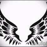 Классный эскиз татуировки крылья – рисунок тату крыло подойдет для тату кошка с крыльями значение