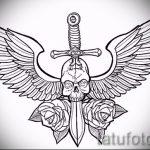 Интересный эскиз татуировки крылья – рисунок тату крыло подойдет для крылья дракона тату