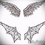 Интересный эскиз татуировки крылья – рисунок наколки крыло подойдет для тату крылья значение