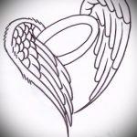 Интересный эскиз татуировки крылья – рисунок тату крыло подойдет для крылья тату на ключицах