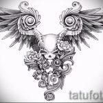 Классный эскиз татуировки крылья – рисунок наколки крыло подойдет для картинки тату крыльев на спине