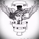Необычный эскиз татуировки крылья – рисунок наколки крыло подойдет для тату крылья ангела мужские