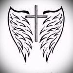 Необычный эскиз татуировки крылья – рисунок наколки крыло подойдет для тату крылья на шее