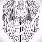 Крутой эскиз татуировки крылья – рисунок тату крыло подойдет для тату звезда крылья