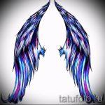 Интересный эскиз татуировки крылья – рисунок наколки крыло подойдет для тату крылья на животе