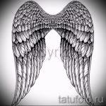 Классный эскиз татуировки крылья – рисунок наколки крыло подойдет для тату на шее крылья фото