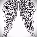 Интересный эскиз тату крылья – рисунок наколки крыло подойдет для тату крылья на спине у девушек