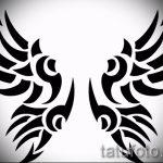 Необычный эскиз татуировки крылья – рисунок наколки крыло подойдет для тату череп с крыльями