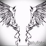 Классный эскиз тату крылья – рисунок наколки крыло подойдет для тату расправленные крылья