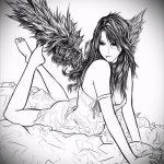 Интересный эскиз тату крылья – рисунок наколки крыло подойдет для тату в виде крыльев на спине