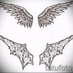 Необычный эскиз татуировки крылья – рисунок тату крыло подойдет для тату крылья на спине женские