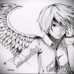 Необычный эскиз тату крылья – рисунок наколки крыло подойдет для тату меч с крыльями