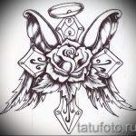 Крутой эскиз татуировки крылья – рисунок наколки крыло подойдет для тату крест с крыльями на спине