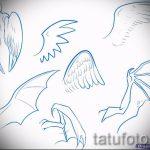 Необычный эскиз татуировки крылья – рисунок тату крыло подойдет для под крылом ангела тату фото
