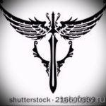 Интересный эскиз тату крылья – рисунок наколки крыло подойдет для тату крылья на шее