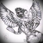 Необычный эскиз тату крылья – рисунок тату крыло подойдет для тату крылья на спине у девушек фото
