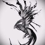 Классный эскиз наколки феникс – оригинальный рисунок для использования как эскиз для татуировки с огненной птицей