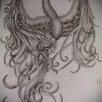 Крутой эскиз татуировки феникс – красивый рисунок для использования как эскиз для татуировки с фениксом