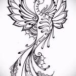 Интересный эскиз татуировки феникс – эксклюзивный рисунок для использования как эскиз для тату с огненной птицей