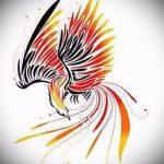 Классный эскиз наколки феникс – красивый рисунок для использования как эскиз для тату с огненной птицей