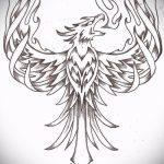Крутой эскиз наколки феникс – красивый рисунок для использования как эскиз для тату с огненной птицей