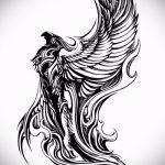 Необычный эскиз татуировки феникс – стильный рисунок для использования как эскиз для татуировки с огненной птицей