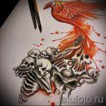 Крутой эскиз тату феникс – оригинальный рисунок для использования как эскиз для тату с огненной птицей