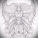 Интересный эскиз татуировки феникс – красивый рисунок для использования как эскиз для татуировки с фениксом