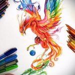Интересный эскиз наколки феникс – красивый рисунок для использования как эскиз для татуировки с огненной птицей