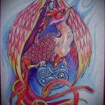 Крутой эскиз тату феникс – эксклюзивный рисунок для использования как эскиз для тату с фениксом
