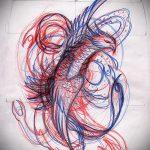 Интересный эскиз татуировки феникс – эксклюзивный рисунок для использования как эскиз для татуировки с огненной птицей