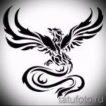 Необычный эскиз тату феникс – красивый рисунок для использования как эскиз для тату с фениксом